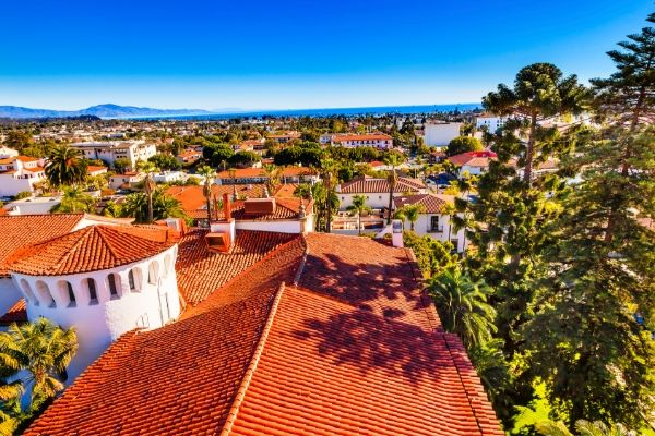 Roof top views over a picturesque town in Central California