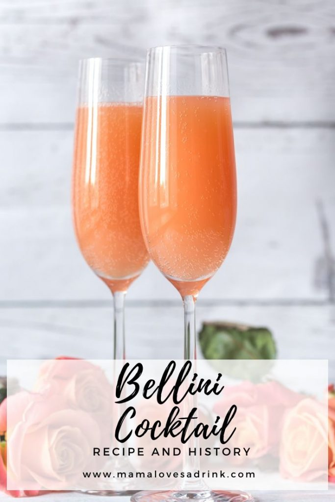 Two tall glasses of peach Bellini on white background - Text overlay Bellini Cocktail Recipe & History