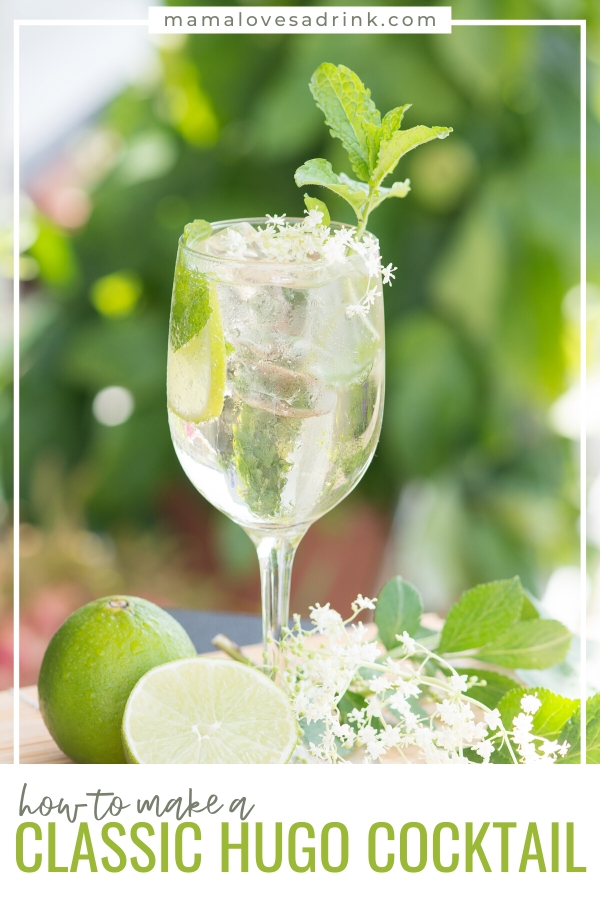 A tall wine glass of refreshing elderflower and prosecco Hugo cocktial. Text overlay how to make a classichugo cocktail