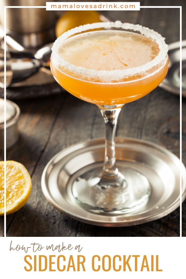 A sugar rimmed coupe glass with a Sidecar cocktail