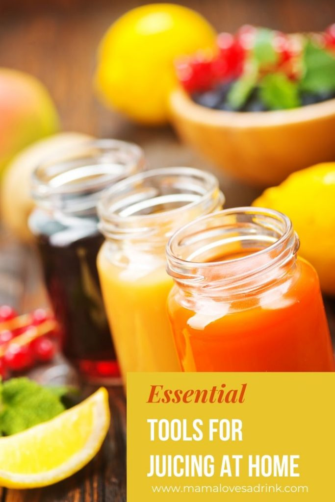 Juices of different colors and overlay text essential tools for juicing at home