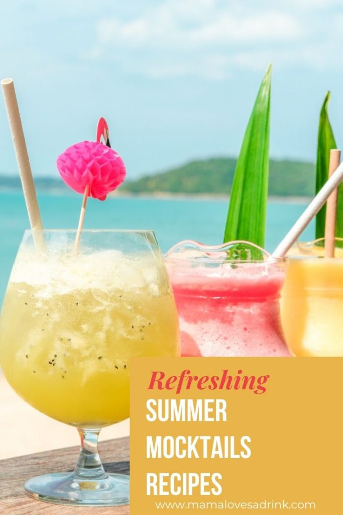 3 colourful mocktails with the backdrop of the sea