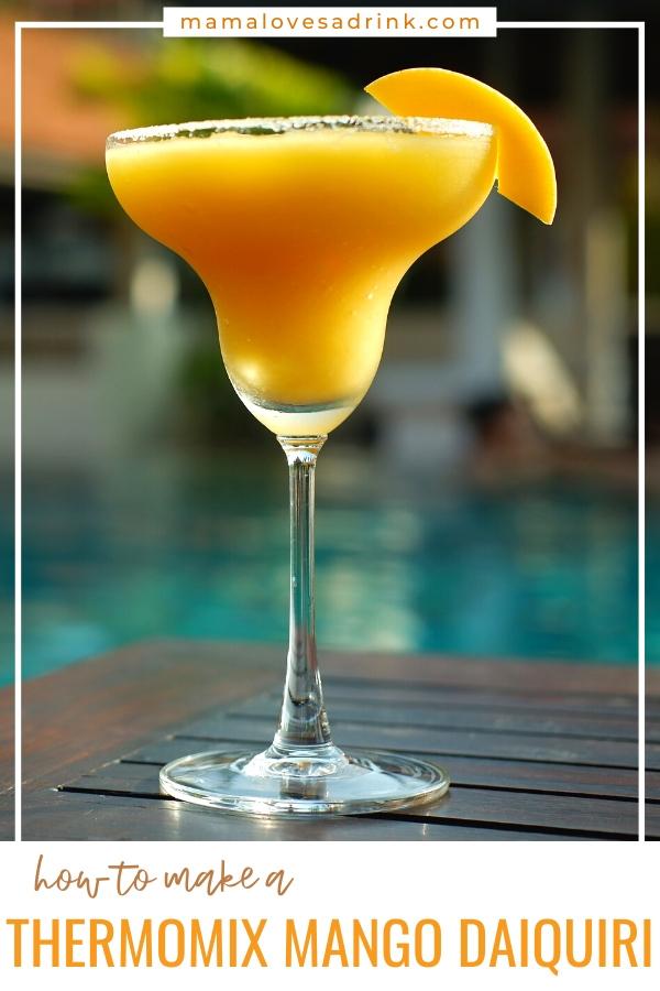 A cocktail glass of mango daiquiri - how to make a thermomix mango daiquiri