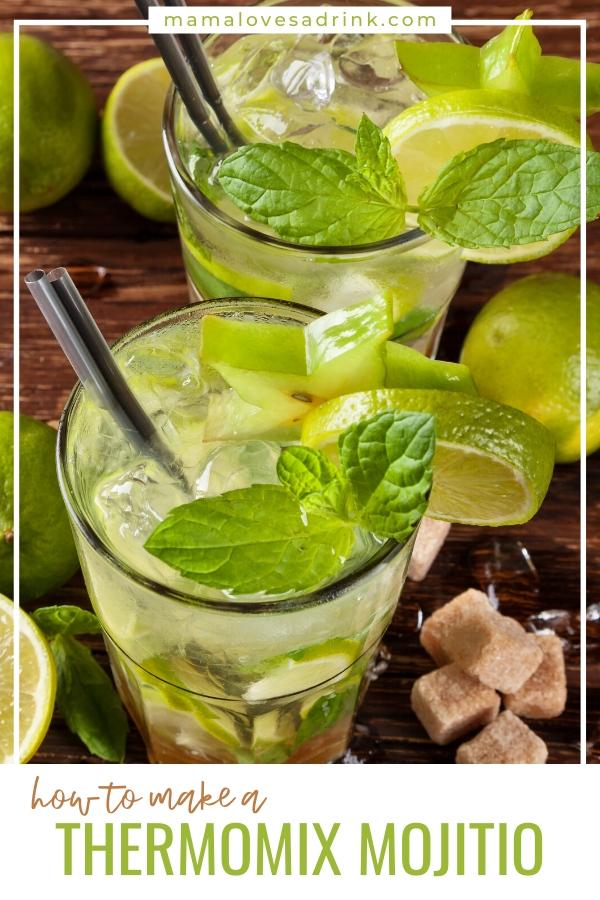 Glasses of fesh mojito with mint - thermomix mojito recipe