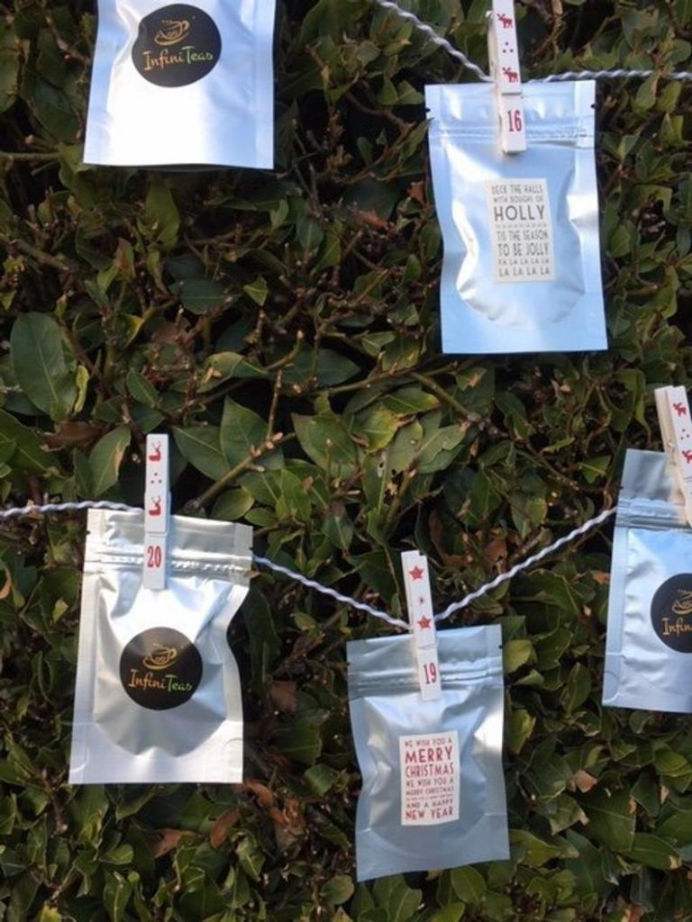Tea Advent Calendar hanging by Pegs Etsy