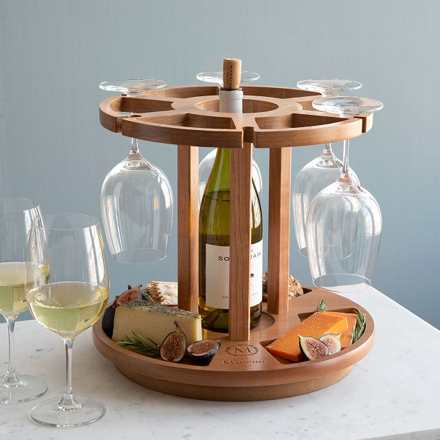 wine and cheese rack with glasses