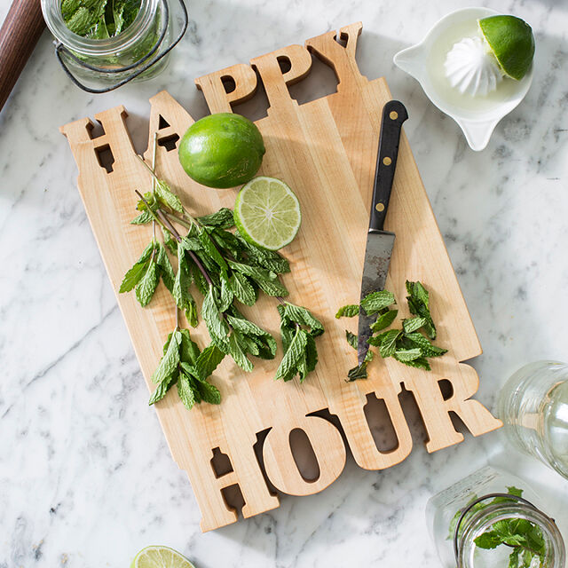 Happy Hour somewhere wooden chopping board