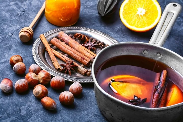 pot of mulled wine cooking