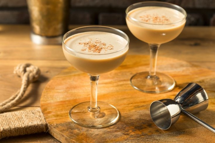 2 martini style glasses with Brandy Alexander cocktail