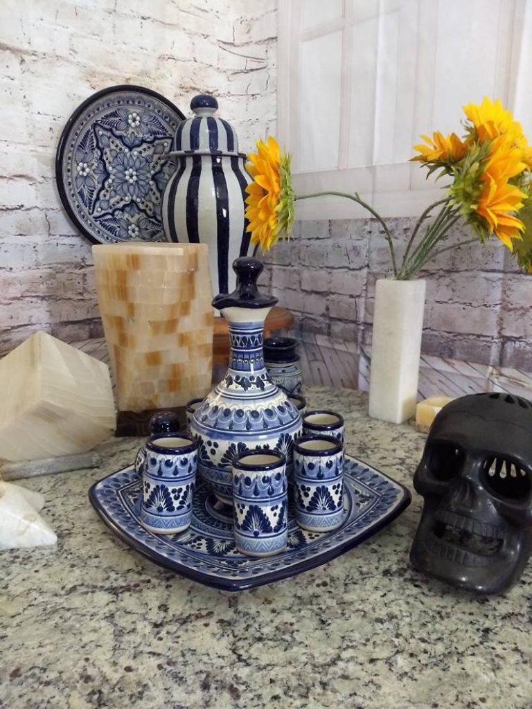 Tequila gift set from mexico blue and white