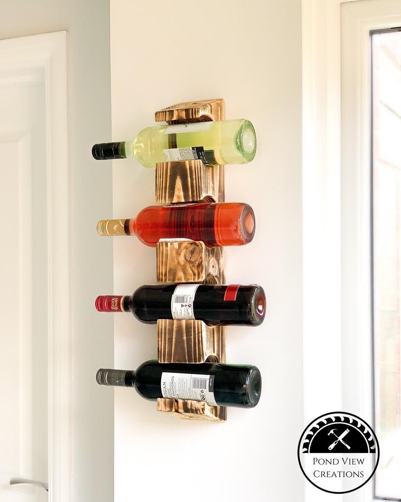 wall mounted wine rack wood