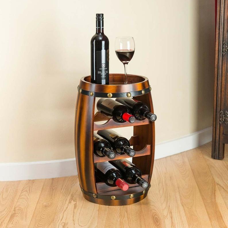 wine barrel wine rack with table
