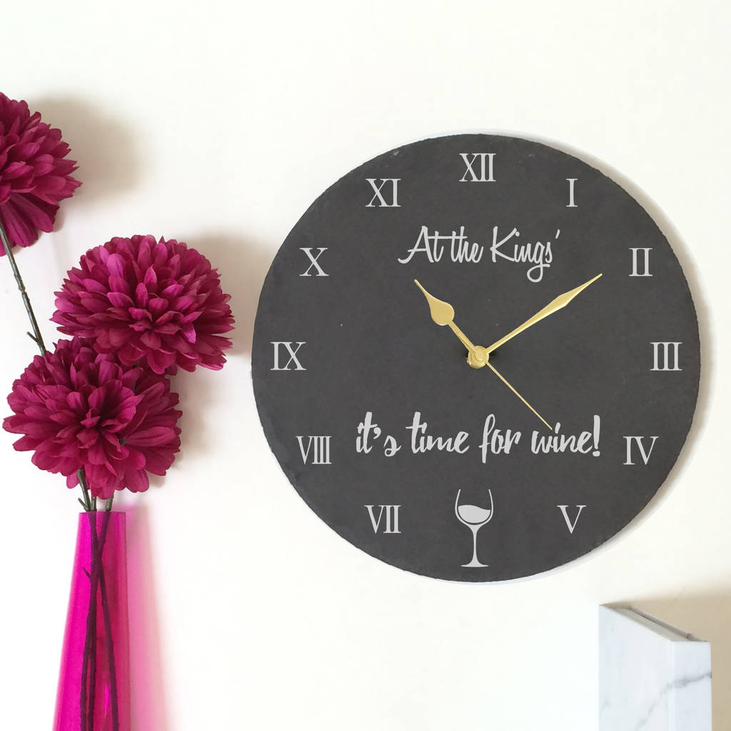 wine time slate clock