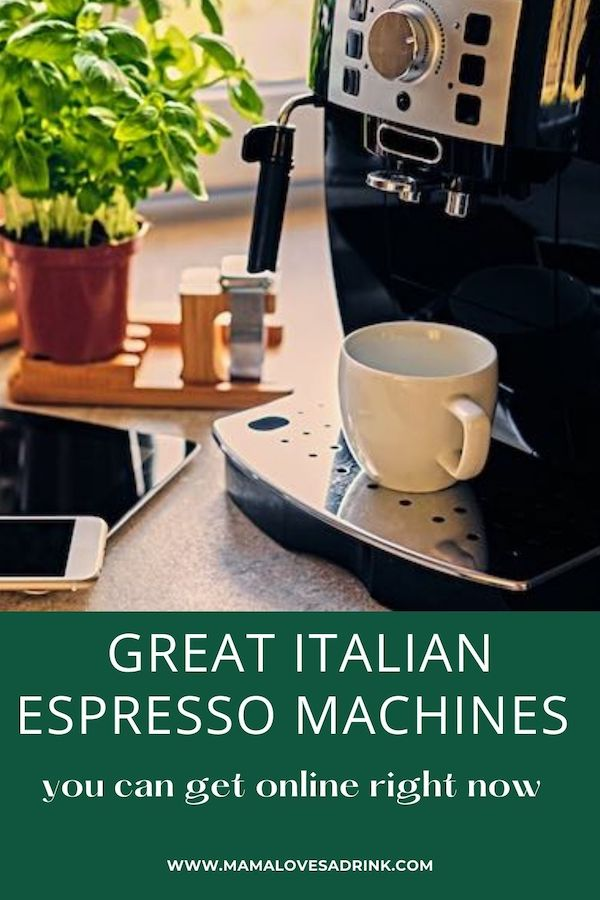 Coffee machine with overlay text: great Italian espresso machines you can get online right now