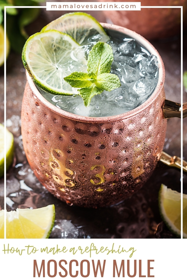 A copper glass of moscow mule cocktail