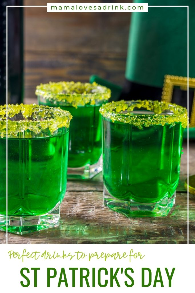 green shots with green sugar rims for st patricks day celebrations