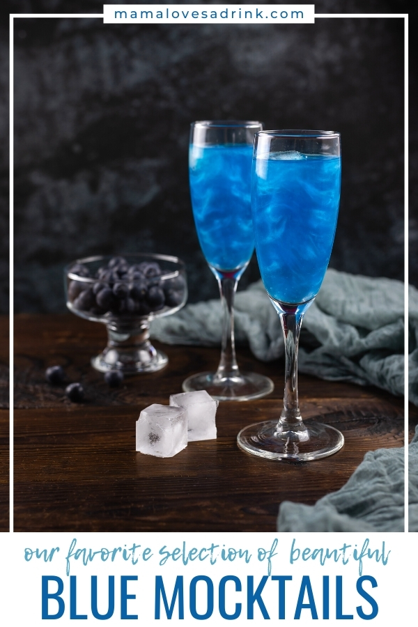 Clue Mocktails - two tall champagne flute glasses of blue drink