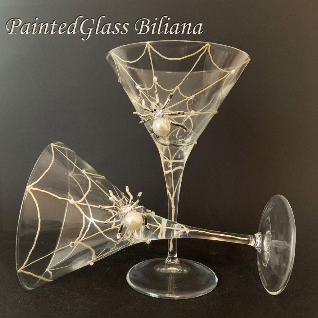 Martini cobweb glasses from Etsy