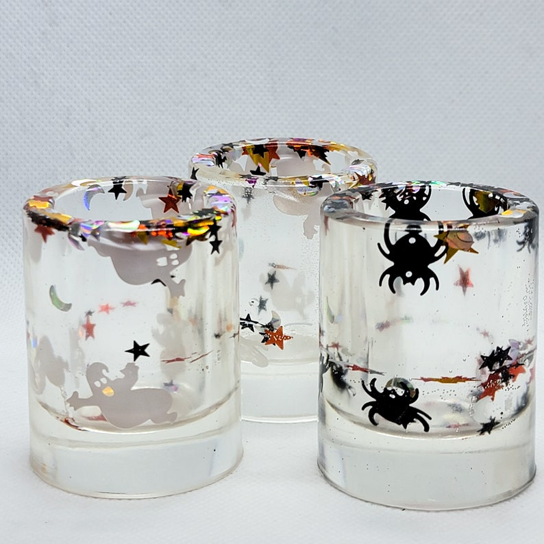 Hand crafted halloween shot glasses from etsy