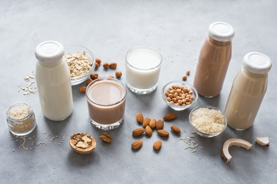 a selection of plant based milks in bottles and the plant they came from