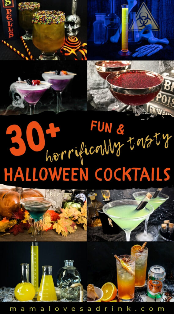 A collage of halloween cocktail drinks