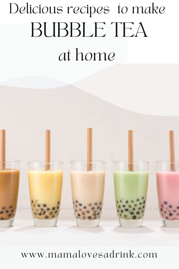 row of different flavours of bubble tea with straws