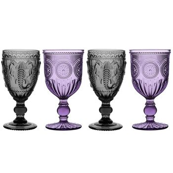4 luxury wine goblets in purple and black