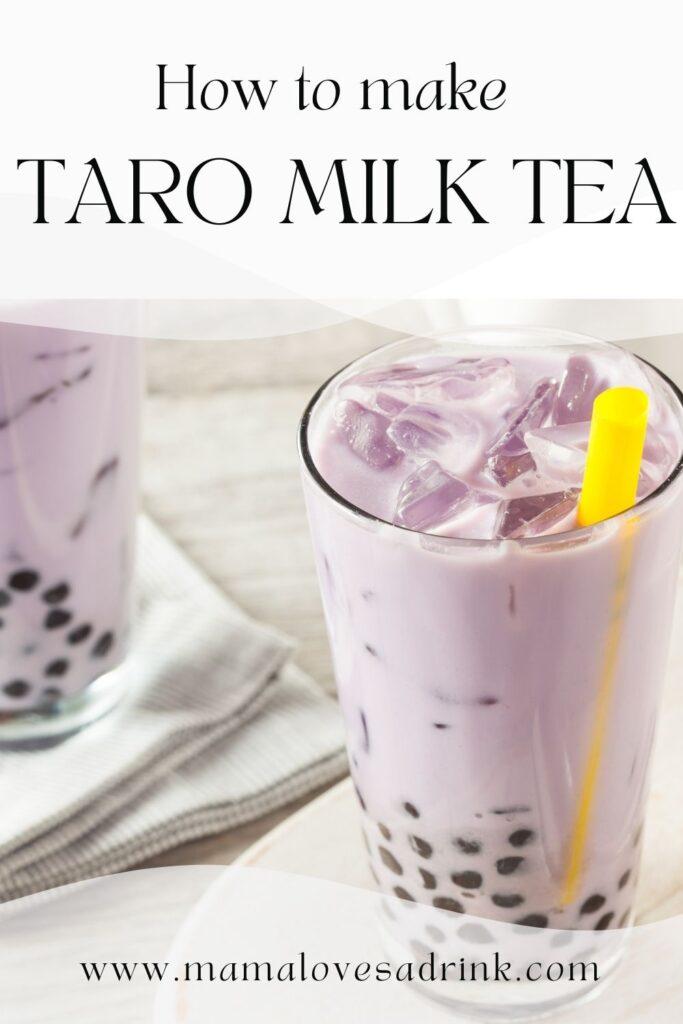 Tall glass with purple taro milk tea with tapioca balls and yellow straw