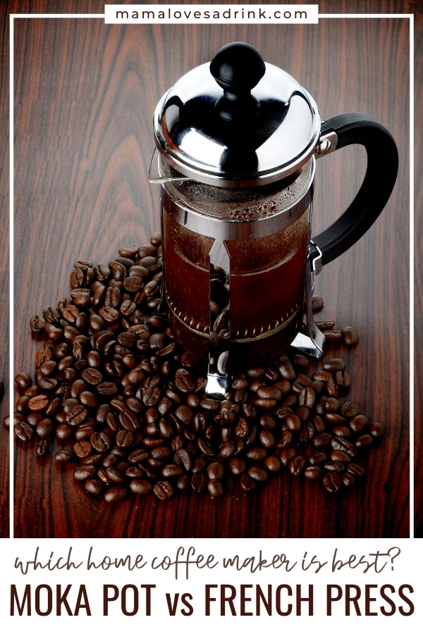 A close up of a french press with coffee beans