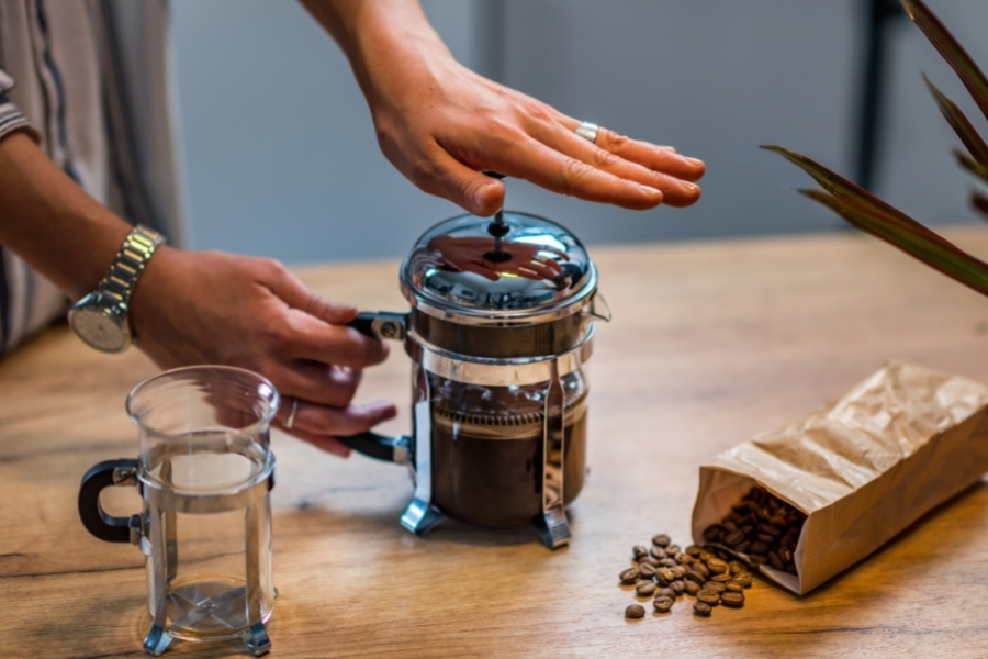 French Press being used