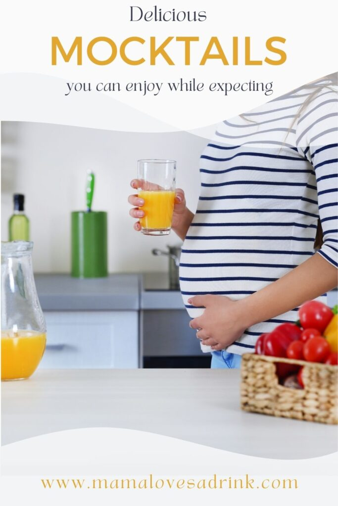 Expectant mother with a glass of juice